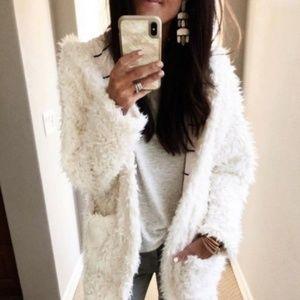 Cozy Teddy Faux Fur Coat - Cream Soft Jacket